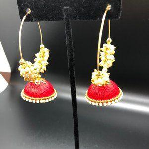 red silk handmade jhumka